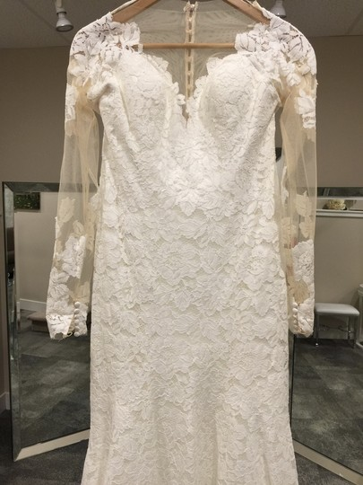 Allure Bridals Ivory Lace 9377 Formal Wedding Dress Size 10 (M)