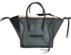 Céline Phantom Luggage Croc Tote in black