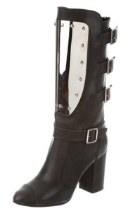 Chanel Interlocking Cc Embellished Chain Silver Hardware Metallic Black, Silver Boots
