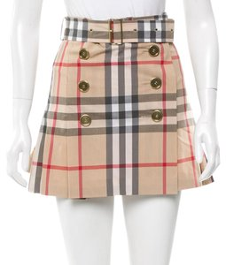 Burberry Nova Check Plaid Pleated Gold Hardware Skirt Beige, Black, Red