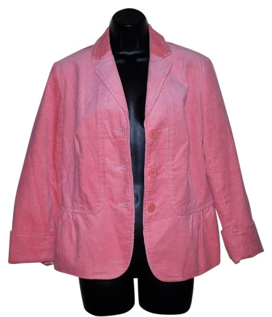 Talbots Corduroy Lined Stretchy Buttons Pink Jacket