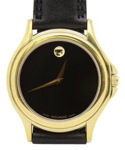 Movado MOVADO MUSEUM 87 E4 0863 MEN'S GOLD TONE BLACK LEATHER QUARTZ WATCH