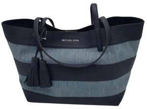 Michael Kors Leather Stripe Canvas Tote in WACHED DENIM