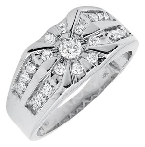 Other Solid 10K White Gold Genuine Diamond Wedding Pinky Ring 1.0Ct