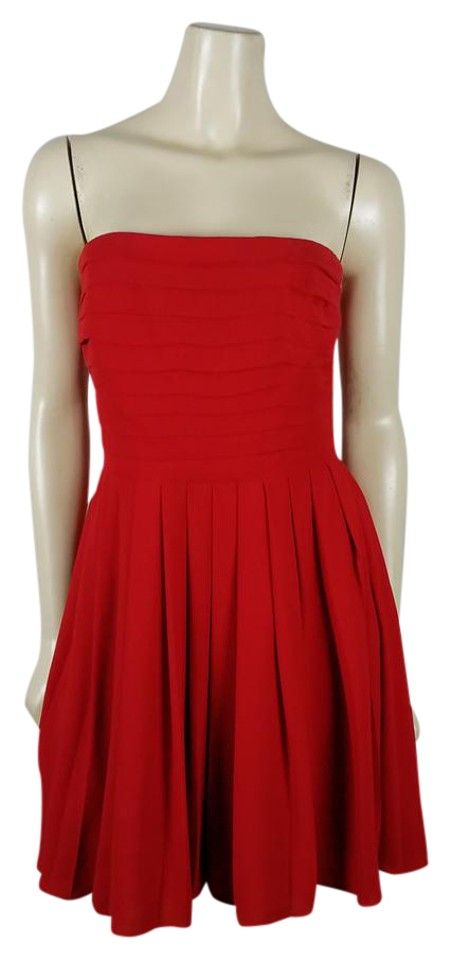 84a4b597562d Rachel Roy Red Strapless Pleated Mini Short Cocktail Dress Size 6 (S ...