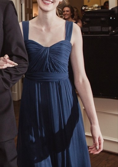 Amsale French Blue Crinkle Chiffon G782c Formal Bridesmaid/Mob Dress Size 4 (S)