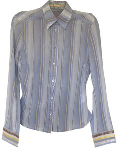 Ted Baker Striped Textured Classic Button Down Shirt Blue