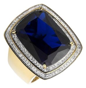 Other Blue Gemstone Genuine Diamond Statement Pinky Ring 0.40ct