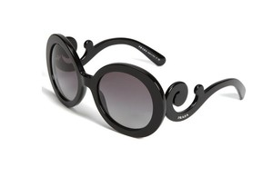 Prada NEW Minimal Baroque Sunglasses SPR 27N c. 1AB3M1 Black w/ gradient