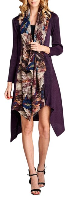 Preload https://img-static.tradesy.com/item/21028979/purple-luxury-pleated-with-scarf-attached-cardigan-size-os-one-size-0-1-650-650.jpg