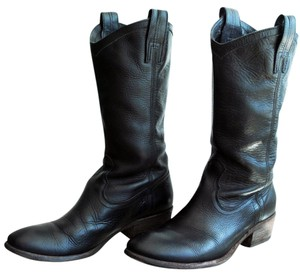 Frye Leather Pull On Mid Calf Genuine Leather Black Boots
