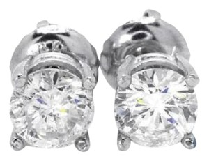 Other 14K White Gold Round Cut 5 MM Solitaire Diamond Stud Earrings 1 Ct