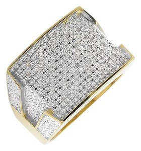 Other Two Tone Gold Finish Rectangle Wide Diamond Pinky Ring 0.30ct.
