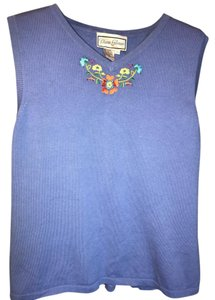 Diane Gilman Embellished Top Blue