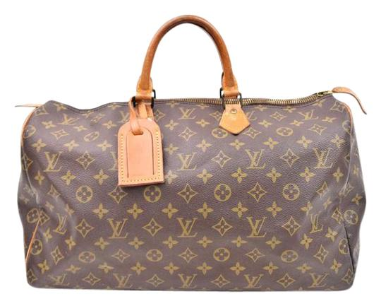 louis vuitton speedy 40 monogram canvas leather handbag france brown tote bag totes on sale. Black Bedroom Furniture Sets. Home Design Ideas
