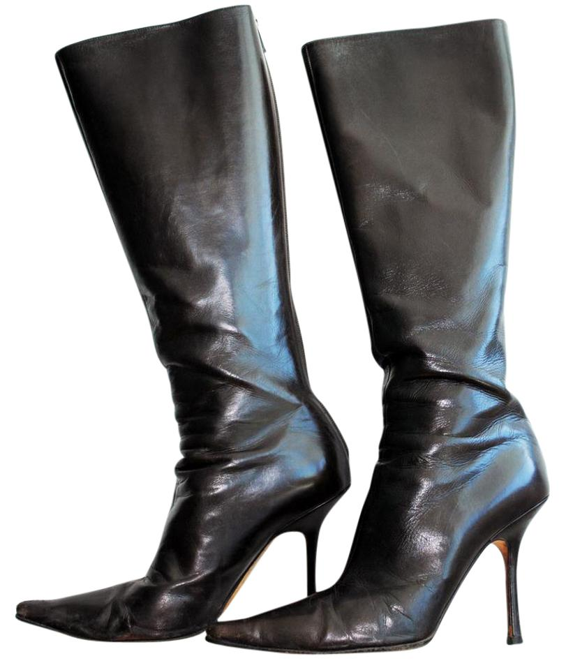 14716cafc862 Jimmy Choo Leather Pointed Toe Stiletto Genuine Leather Dark Brown Boots  Image 0 ...