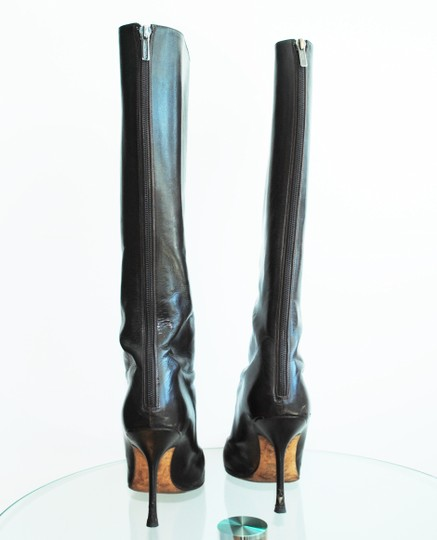 Jimmy Choo Leather Pointed Toe Stiletto Genuine Leather Dark Brown Boots