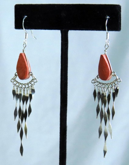 Other NEW * VINTAGE * PERU * HANDMADE * SILVER AND CORAL JASPER DANGLE