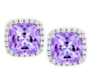 Judith Ripka Judith Ripka Sterling 3.40ct Amethyst & Diamonique Button Earrings