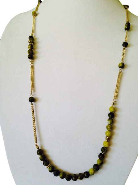 Item - Shades Of Green/Yellow Greenish Gemstone & Gold Chain Long Necklace