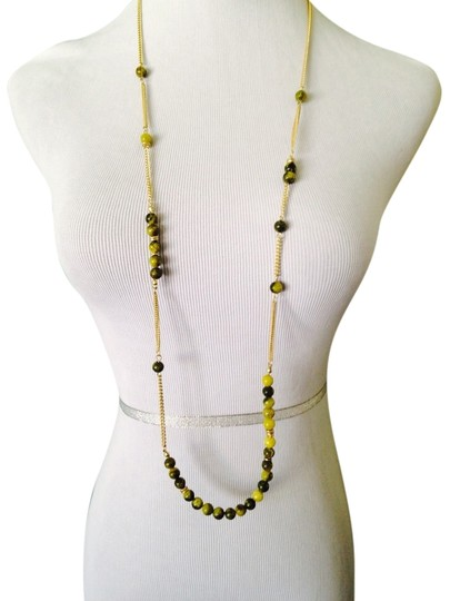 Kenneth Cole Greenish Gemstone & Gold Chain Long Necklace