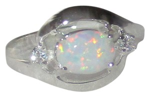 J Brand 925 Sterling Silver OVAL REAL WHITE OPAL RING SIZE 5 6 7 8 9