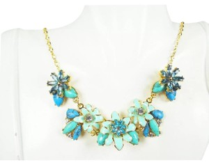 Kate Spade Beautiful Kate Spade Baby Blue Enamel & Crystal Floral Necklace