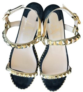 Christian Louboutin Black with gold hardware Sandals