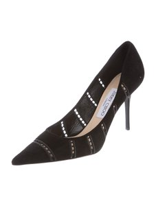 Jimmy Choo Suede Cut-out Office Designer Black Pumps