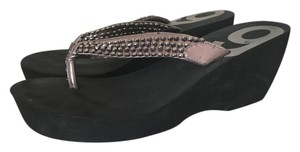 Nine West Flip Flops Black Beads Grey/black Platforms