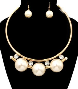 Other Pearl and Crystal Accent Gold Choker Necklace And Earrings