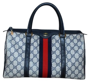 Gucci Made In Italy Accessory Collection Monogram Vintage Leather Satchel in Blue