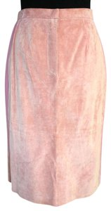 Terry Lewis Classic Luxuries Petite Leather Stripes Waist Skirt Pink