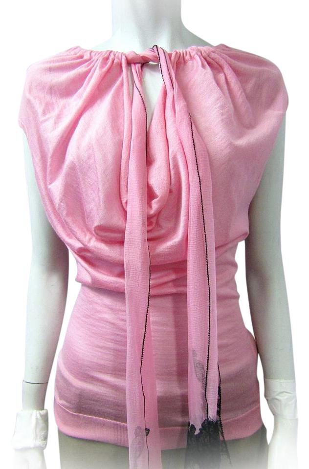 cd3a79792bf101 Nina Ricci Pink Front Tie Cashmere Silk Cowl Neck Medium Blouse Size ...