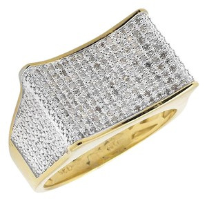 Other Two-Tone Gold Finish Curved Rectangle Wide Diamond Pinky Ring 0.50ct