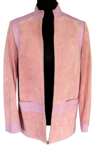 Terry Lewis Classic Luxuries Leather Zipper Lined Suede Pink Leather Jacket