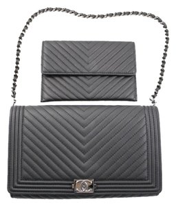 Chanel Chevron Leather 15s Convertible Wallet Le Boy Card Dust Woc Wallet On Chain Black Clutch