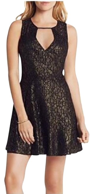 Item - Black and Gold Metallic Lace Flare Short Casual Dress Size 2 (XS)