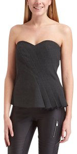 Trina Turk Strapless Sweetheart Gray Top Graphite Gray