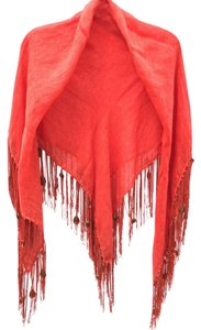 Echo Design Coral fringed linen square scarf