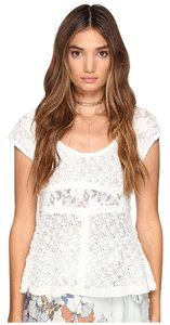 Free People Lace Delicate Feminine Top ivory