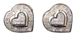 Other 10K Yellow Gold Double Heart Shaped Pave Earrings Studs 10MM 0.50 Ct