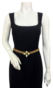 Chanel Chanel Gold Chain Link Crystal Pearl Flower Buckle Belt