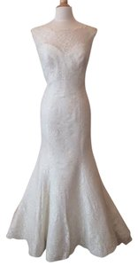Augusta Jones Cream Lace Skyler Formal Wedding Dress Size 8 (M)