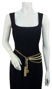 Chanel Chanel Gold Metal Chain Faux Pearl Medallion Belt