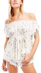 Free People Babydoll Boho Rulled T Shirt ivory