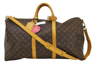 Louis Vuitton Lv Keepall 55 Bandouliere Monogram Boston Travel Bag