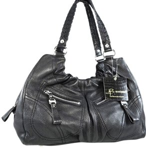 B. Makowsky Leather Hobo Logo Silver Hardware Tote in Black
