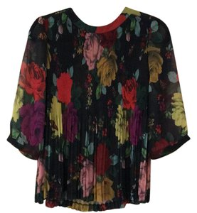 Ted Baker Top Black with floral print