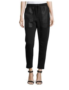 Helmut Lang Leather Sport Athletic Pants Black